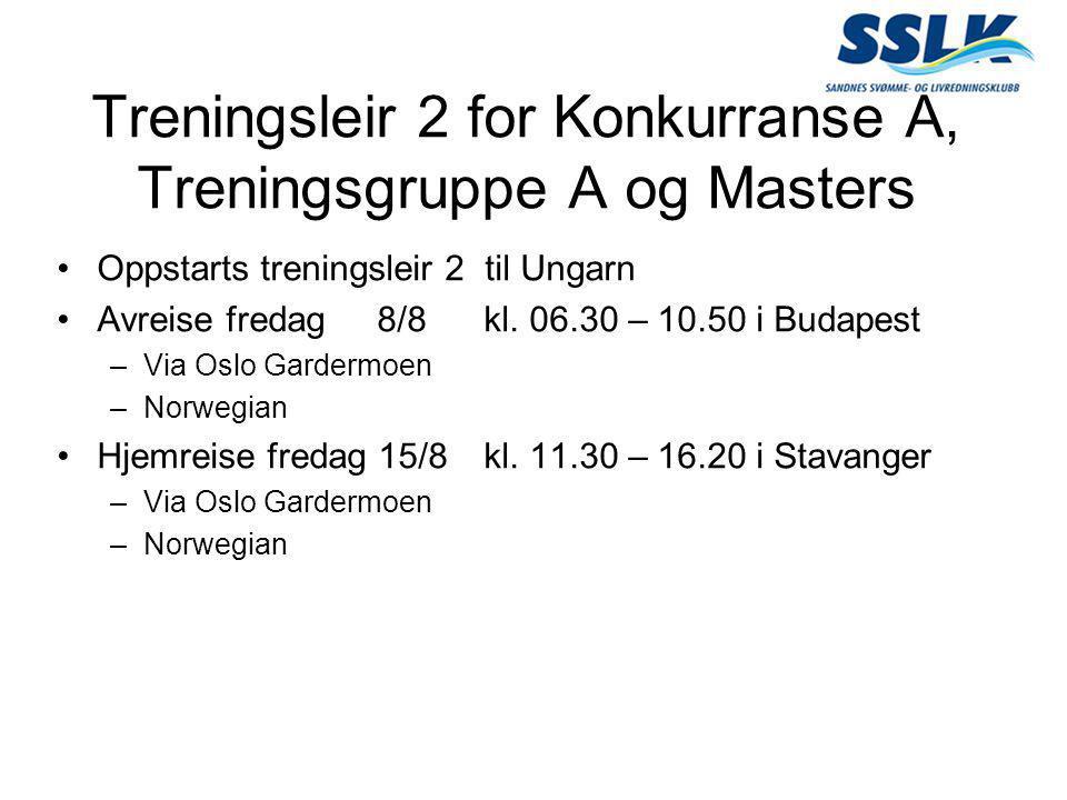 Treningsleir 2 for Konkurranse A, Treningsgruppe A og Masters •Oppstarts treningsleir 2 til Ungarn •Avreise fredag8/8 kl. 06.30 – 10.50 i Budapest –Vi
