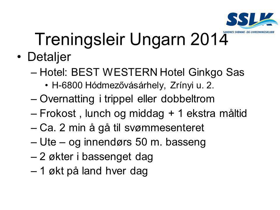 Treningsleir Ungarn 2014 •Detaljer –Hotel: BEST WESTERN Hotel Ginkgo Sas •H-6800 Hódmezővásárhely, Zrínyi u. 2. –Overnatting i trippel eller dobbeltro