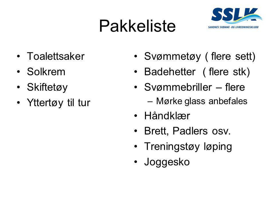 Pakkeliste •Toalettsaker •Solkrem •Skiftetøy •Yttertøy til tur •Svømmetøy ( flere sett) •Badehetter ( flere stk) •Svømmebriller – flere –Mørke glass anbefales •Håndklær •Brett, Padlers osv.