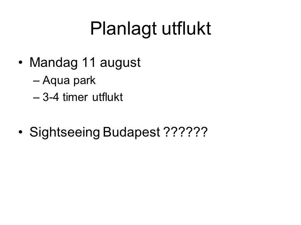 Planlagt utflukt •Mandag 11 august –Aqua park –3-4 timer utflukt •Sightseeing Budapest ??????