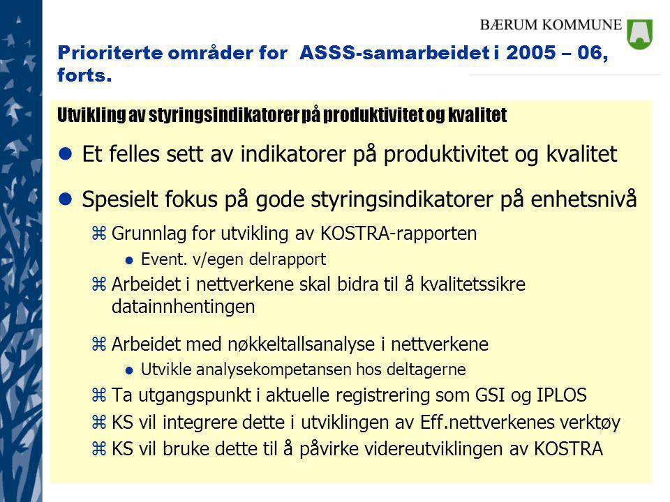 Prioriterte områder for ASSS-samarbeidet i 2005 – 06, forts.