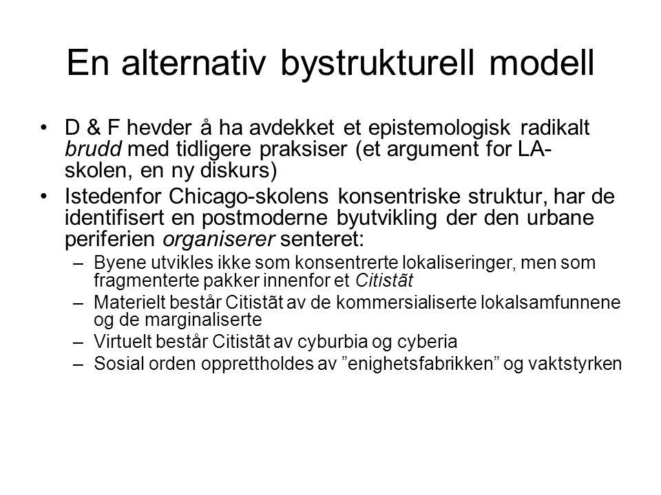 En alternativ bystrukturell modell •D & F hevder å ha avdekket et epistemologisk radikalt brudd med tidligere praksiser (et argument for LA- skolen, e