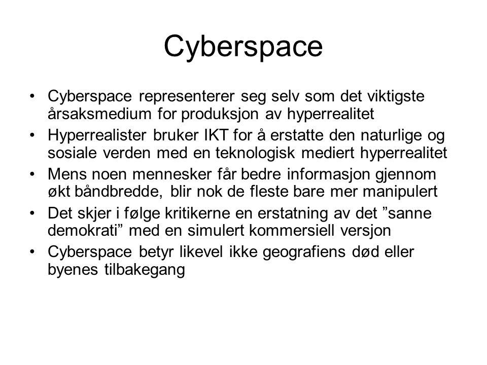 Cyberspace •Cyberspace representerer seg selv som det viktigste årsaksmedium for produksjon av hyperrealitet •Hyperrealister bruker IKT for å erstatte