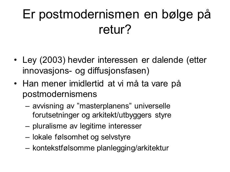Er postmodernismen en bølge på retur? •Ley (2003) hevder interessen er dalende (etter innovasjons- og diffusjonsfasen) •Han mener imidlertid at vi må