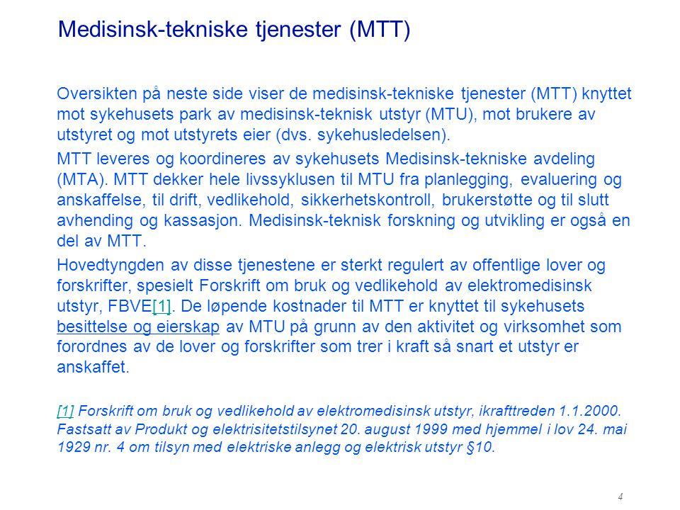 Medisinsk-tekniske tjenester (MTT) Oversikten på neste side viser de medisinsk-tekniske tjenester (MTT) knyttet mot sykehusets park av medisinsk-tekni