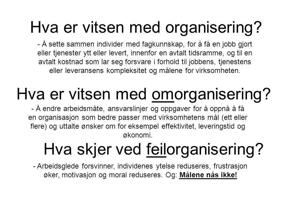 Hva er vitsen med organisering? - Å sette sammen individer med fagkunnskap, for å få en jobb gjort eller tjenester ytt eller levert, innenfor en avtal