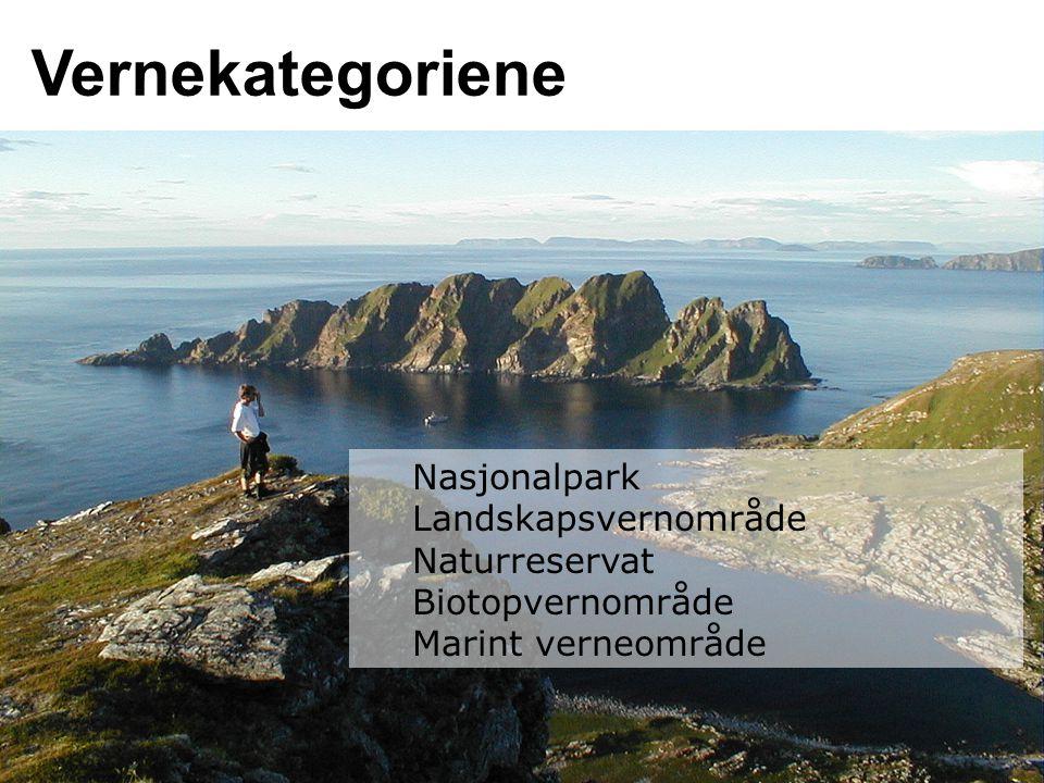 Vernekategoriene Nasjonalpark Landskapsvernområde Naturreservat Biotopvernområde Marint verneområde