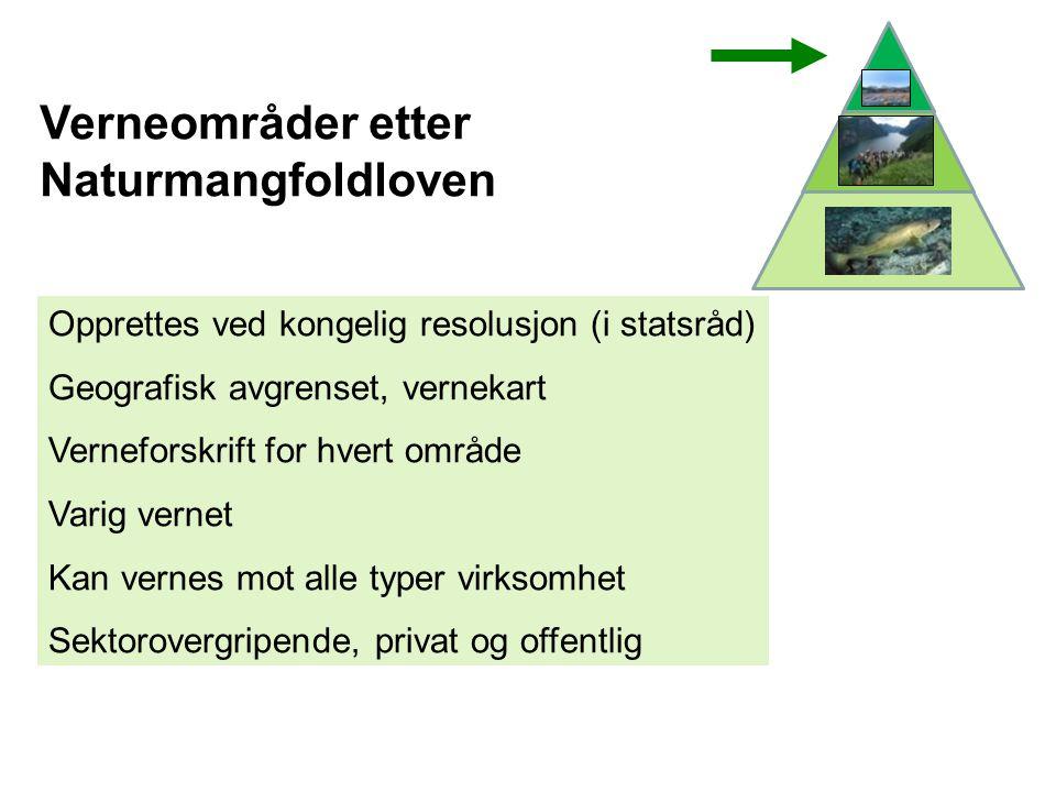 Verneområder etter Naturmangfoldloven Opprettes ved kongelig resolusjon (i statsråd) Geografisk avgrenset, vernekart Verneforskrift for hvert område V