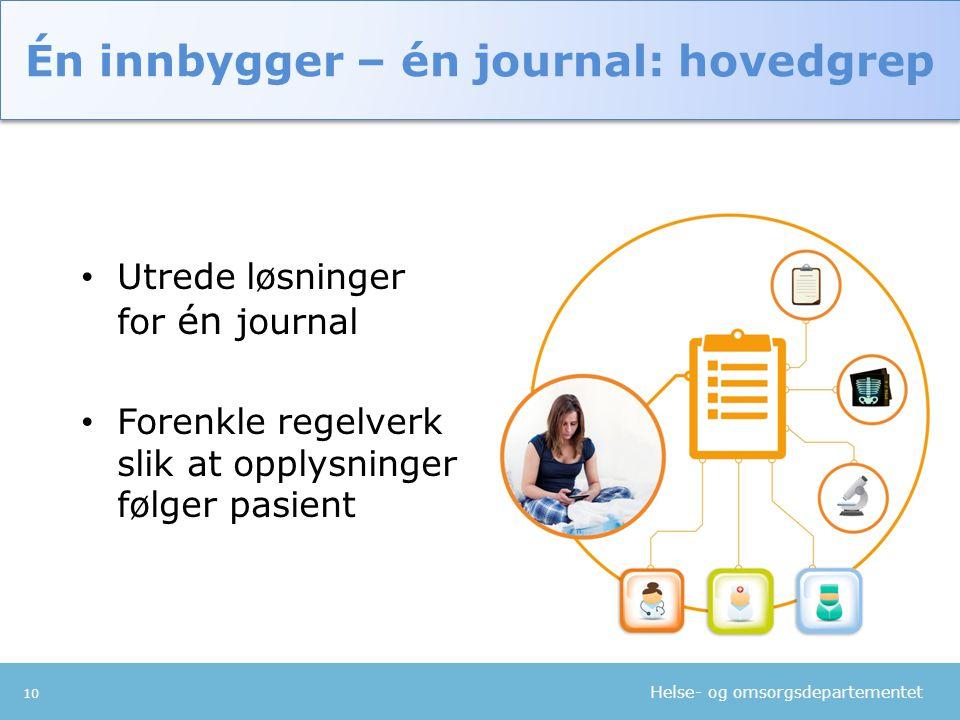 Helse- og omsorgsdepartementet 10 • Utrede løsninger for én journal • Forenkle regelverk slik at opplysninger følger pasient Én innbygger – én journal