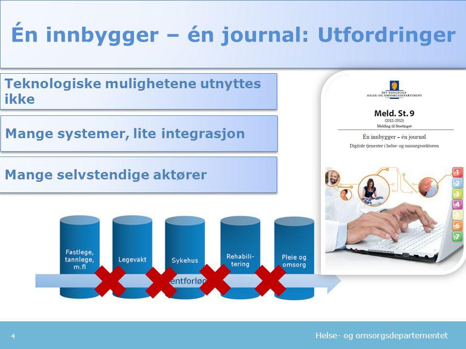 Helse- og omsorgsdepartementet 4 Én innbygger – én journal: Utfordringer Teknologiske mulighetene utnyttes ikke Mange selvstendige aktører Mange syste