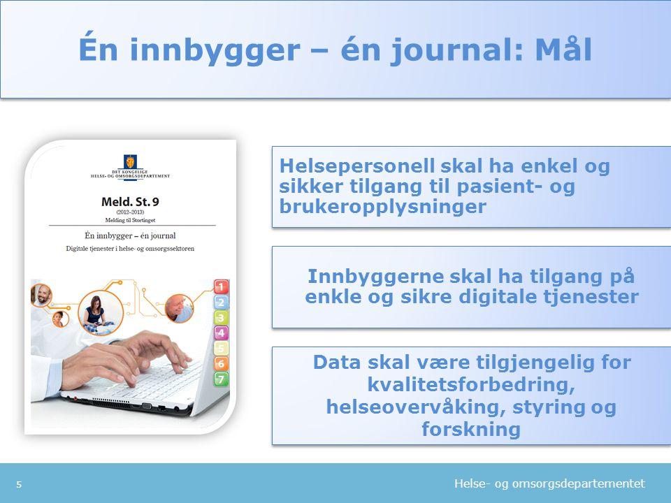 Helse- og omsorgsdepartementet 6 Fullføre pågående tiltak Digitale tjenester til innbyggerne - Min helse på nett Én innbygger – én journal Én innbygger – én journal: Fire grep Sterkere nasjonal styring og koordinering