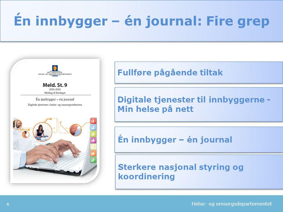 Helse- og omsorgsdepartementet 6 Fullføre pågående tiltak Digitale tjenester til innbyggerne - Min helse på nett Én innbygger – én journal Én innbygge