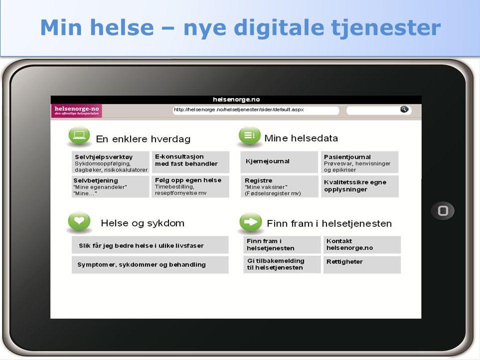 Helse- og omsorgsdepartementet 05/06/2012Digital helse- og omsorgstjeneste9 Min helse – nye digitale tjenester