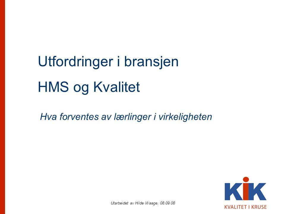 Utarbeidet av Hilde Waage, 08.09.08 Utfordringer i bransjen HMS og Kvalitet Hva forventes av lærlinger i virkeligheten