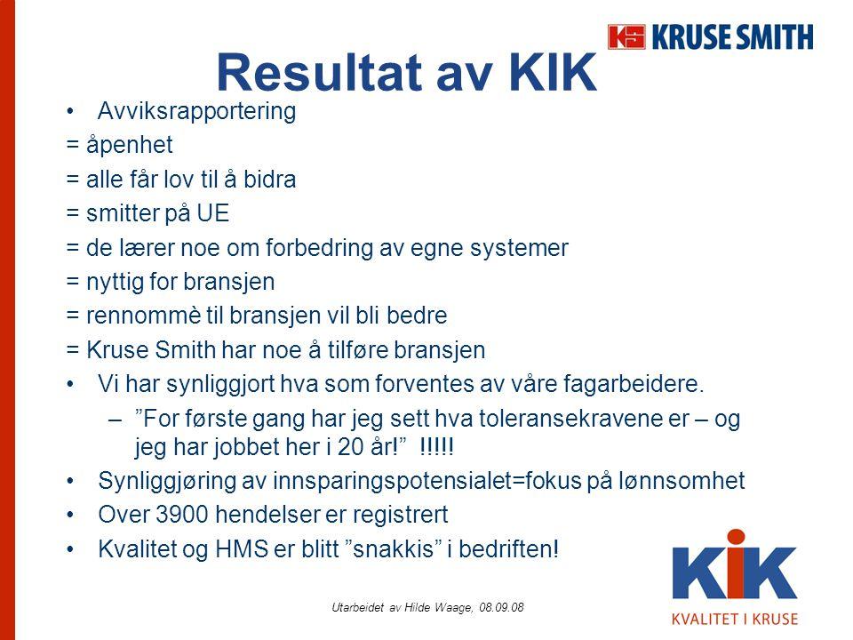 Utarbeidet av Hilde Waage, 08.09.08 Resultat av KIK •Avviksrapportering = åpenhet = alle får lov til å bidra = smitter på UE = de lærer noe om forbedr
