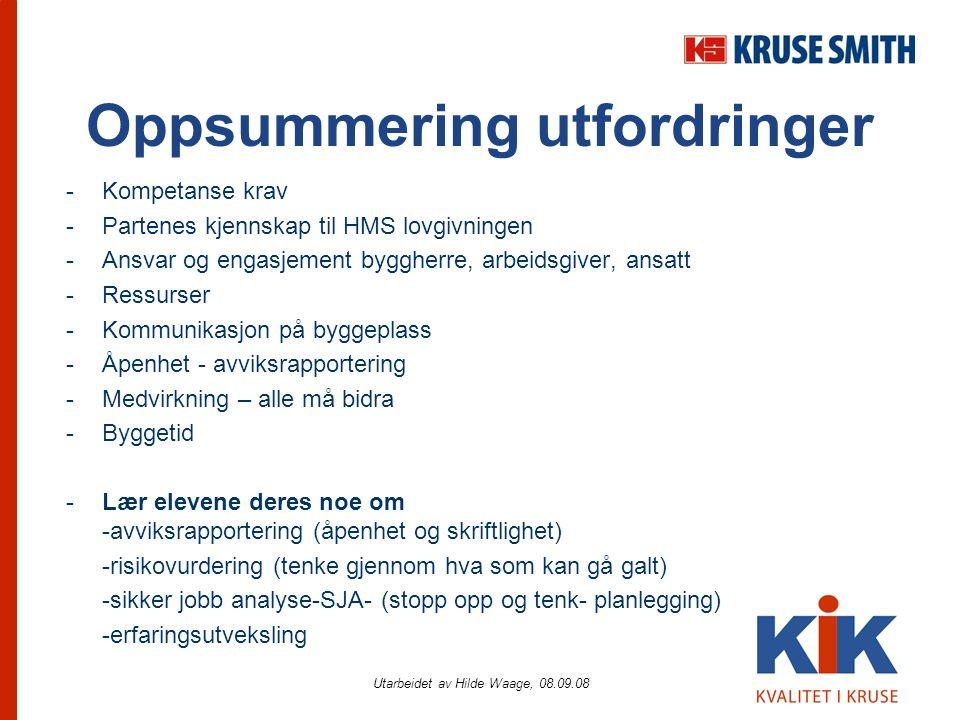 Utarbeidet av Hilde Waage, 08.09.08 Oppsummering utfordringer -Kompetanse krav -Partenes kjennskap til HMS lovgivningen -Ansvar og engasjement byggher