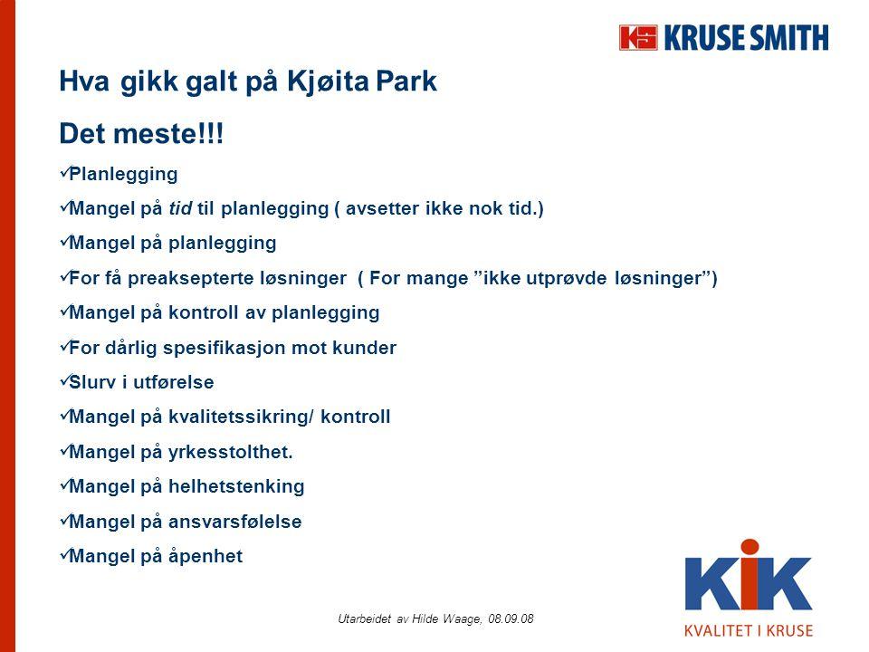 Utarbeidet av Hilde Waage, 08.09.08 Hva gikk galt på Kjøita Park Det meste!!!  Planlegging  Mangel på tid til planlegging ( avsetter ikke nok tid.)