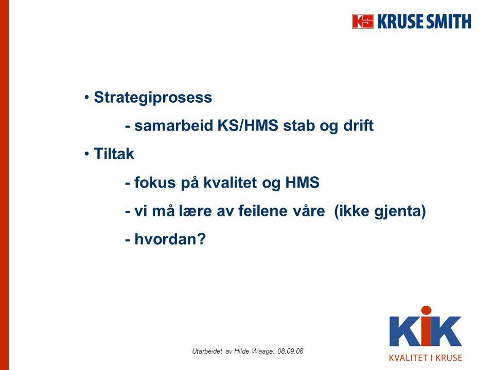 Utarbeidet av Hilde Waage, 08.09.08 • Strategiprosess - samarbeid KS/HMS stab og drift • Tiltak - fokus på kvalitet og HMS - vi må lære av feilene våre (ikke gjenta) - hvordan?