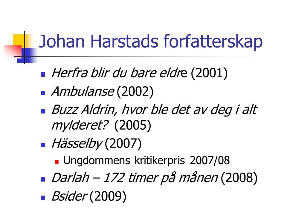 Johan Harstads forfatterskap  Herfra blir du bare eldre (2001)  Ambulanse (2002)  Buzz Aldrin, hvor ble det av deg i alt mylderet? (2005)  Hässelb