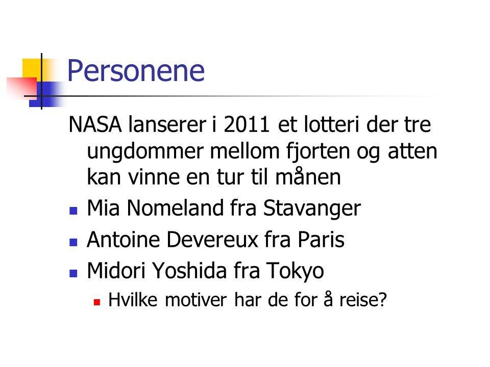 Personene NASA lanserer i 2011 et lotteri der tre ungdommer mellom fjorten og atten kan vinne en tur til månen  Mia Nomeland fra Stavanger  Antoine