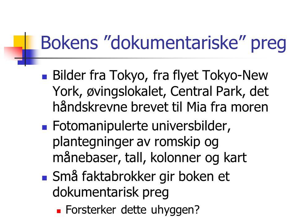"""Bokens """"dokumentariske"""" preg  Bilder fra Tokyo, fra flyet Tokyo-New York, øvingslokalet, Central Park, det håndskrevne brevet til Mia fra moren  Fot"""