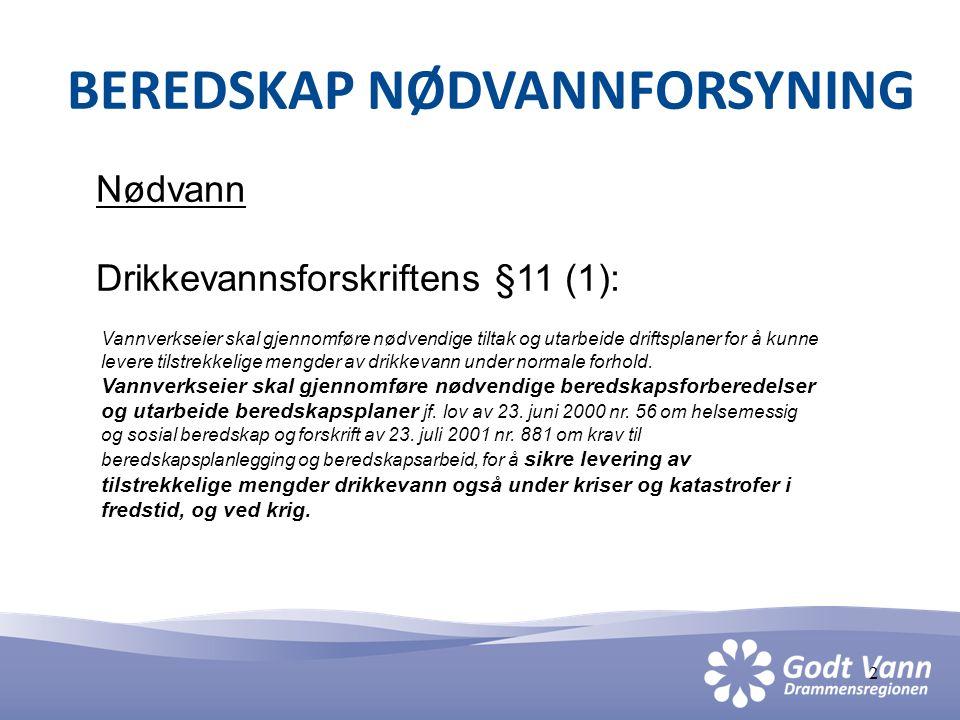 3 BEREDSKAP NØDVANNFORSYNING Bakgrunn GVD • Orientering prosjektstyret 8.des.