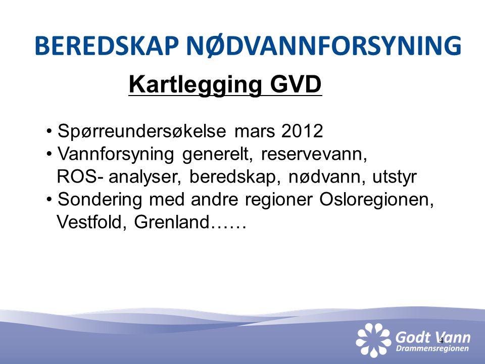 4 BEREDSKAP NØDVANNFORSYNING Kartlegging GVD • Spørreundersøkelse mars 2012 • Vannforsyning generelt, reservevann, ROS- analyser, beredskap, nødvann,