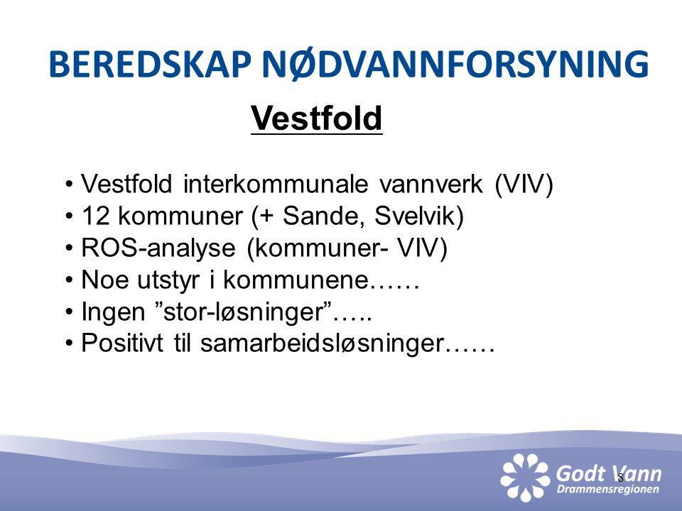 8 BEREDSKAP NØDVANNFORSYNING Vestfold • Vestfold interkommunale vannverk (VIV) • 12 kommuner (+ Sande, Svelvik) • ROS-analyse (kommuner- VIV) • Noe ut