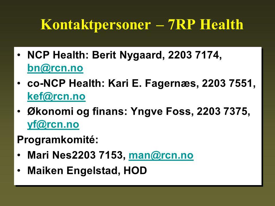 Kontaktpersoner – 7RP Health •NCP Health: Berit Nygaard, 2203 7174, bn@rcn.no bn@rcn.no •co-NCP Health: Kari E.