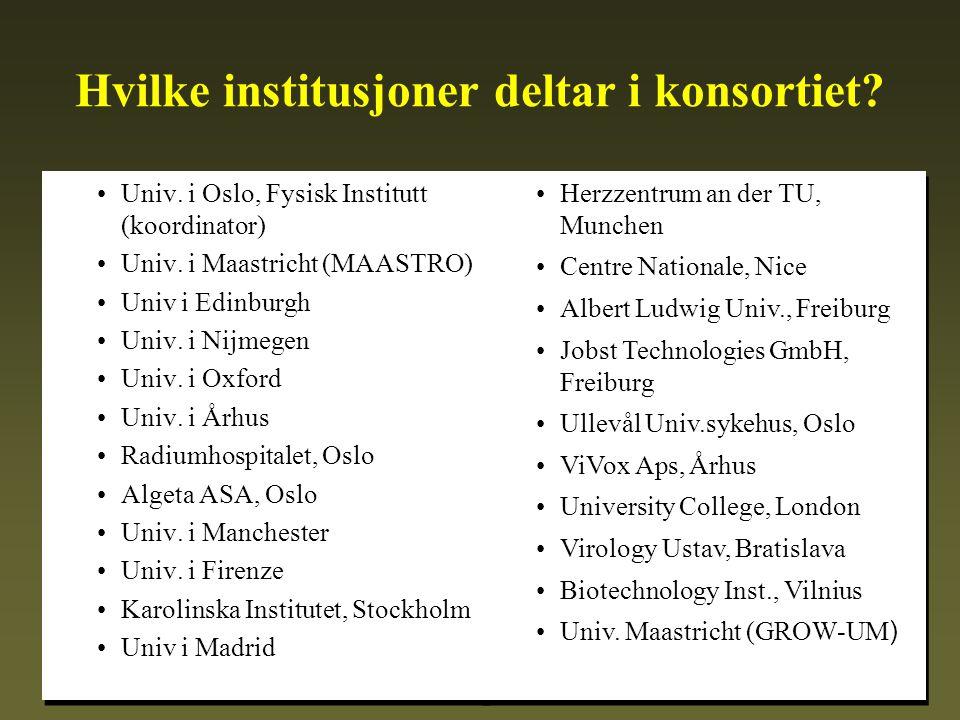 Hvilke institusjoner deltar i konsortiet. •Univ. i Oslo, Fysisk Institutt (koordinator) •Univ.