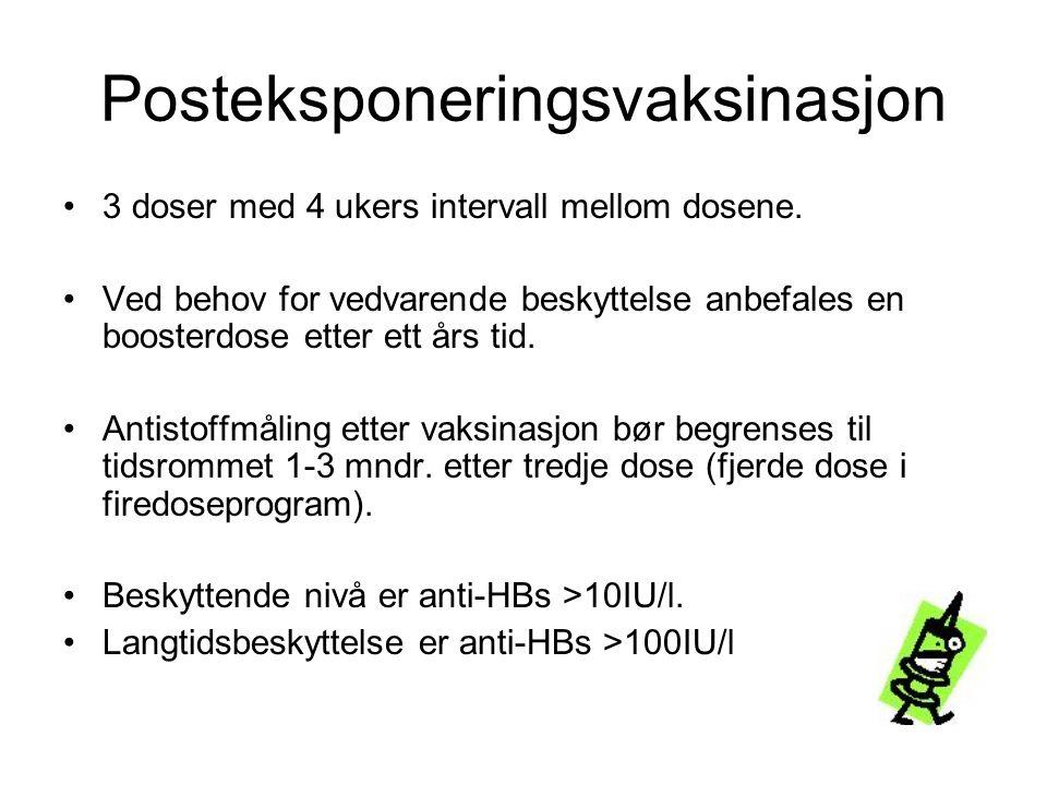 Posteksponeringsvaksinasjon •3 doser med 4 ukers intervall mellom dosene. •Ved behov for vedvarende beskyttelse anbefales en boosterdose etter ett års