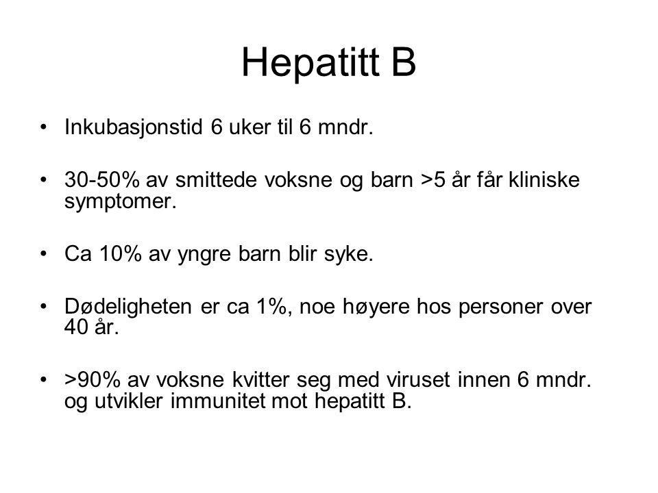 Hepatitt B •Inkubasjonstid 6 uker til 6 mndr. •30-50% av smittede voksne og barn >5 år får kliniske symptomer. •Ca 10% av yngre barn blir syke. •Dødel
