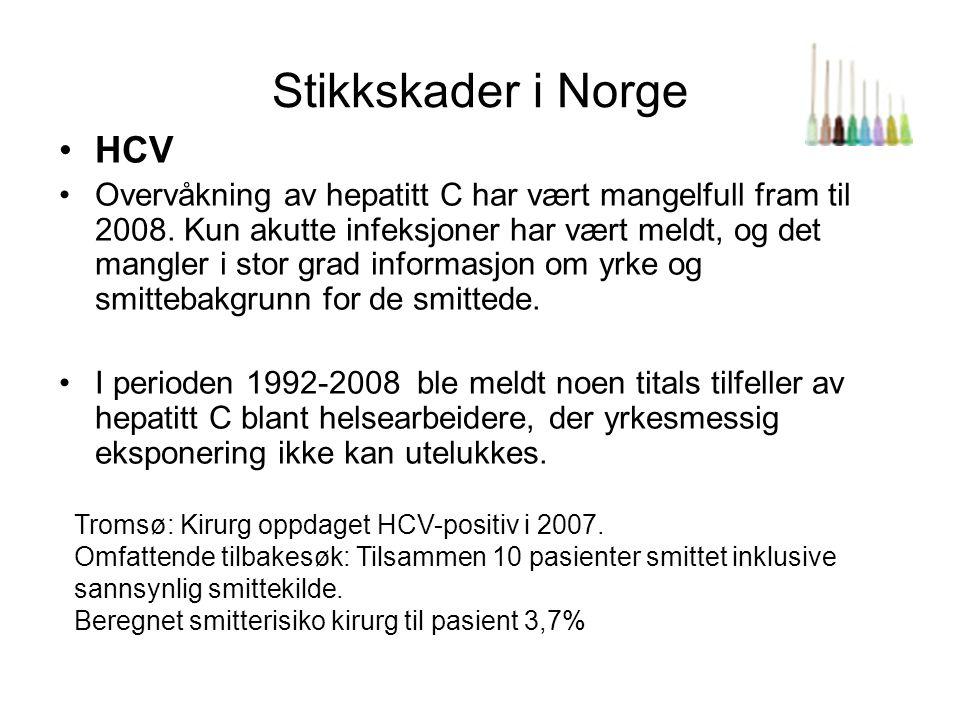 Stikkskader i Norge •HCV •Overvåkning av hepatitt C har vært mangelfull fram til 2008. Kun akutte infeksjoner har vært meldt, og det mangler i stor gr