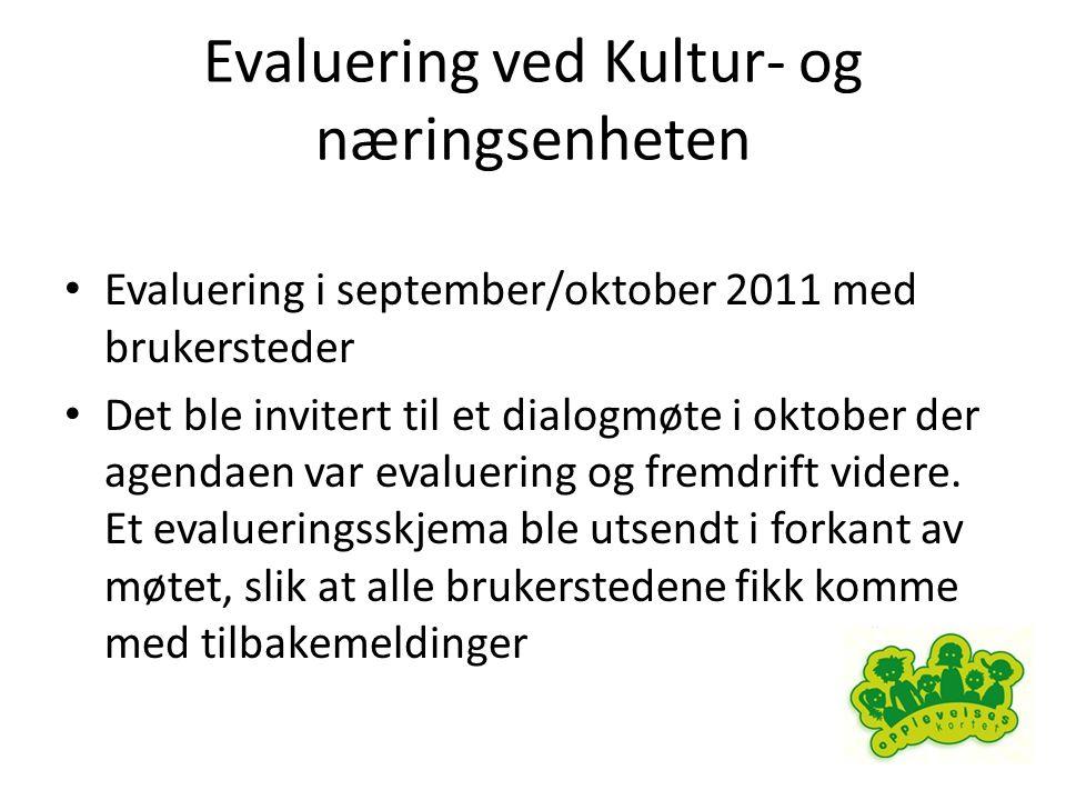 Evaluering ved Kultur- og næringsenheten • Evaluering i september/oktober 2011 med brukersteder • Det ble invitert til et dialogmøte i oktober der agendaen var evaluering og fremdrift videre.