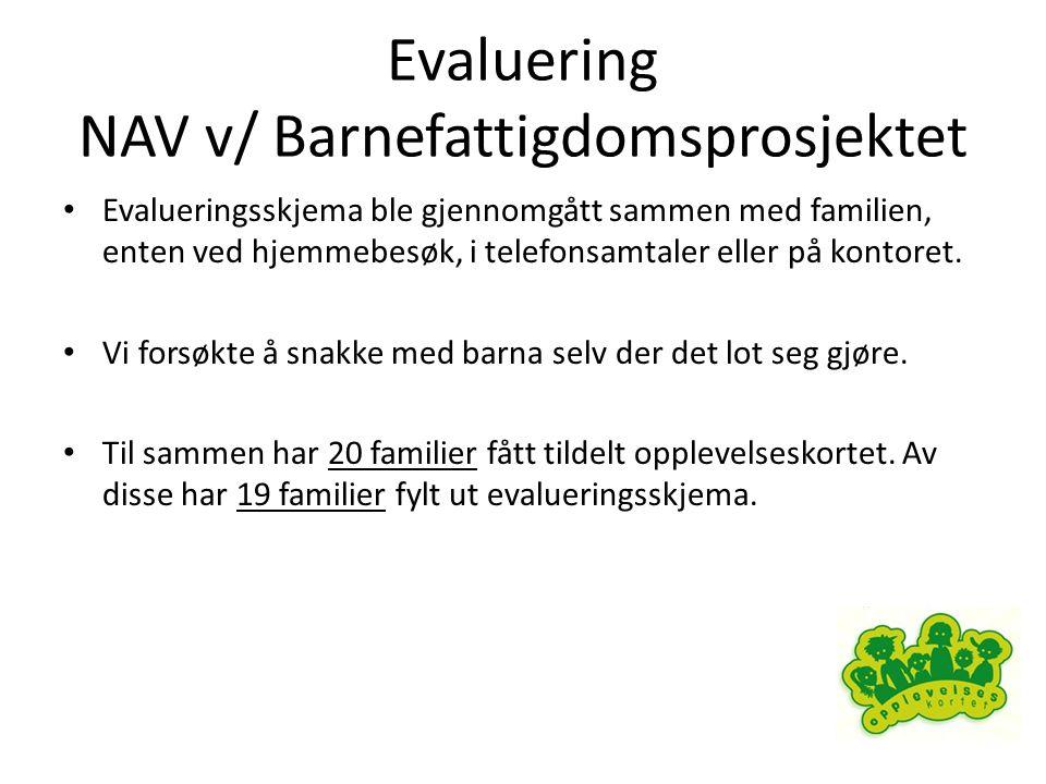 Evaluering NAV v/ Barnefattigdomsprosjektet • Evalueringsskjema ble gjennomgått sammen med familien, enten ved hjemmebesøk, i telefonsamtaler eller på kontoret.