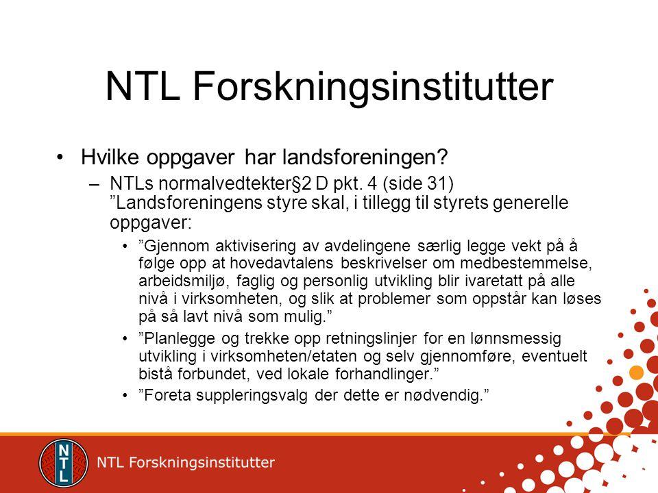 NTL Forskningsinstitutter •Hvilke oppgaver har landsforeningen.