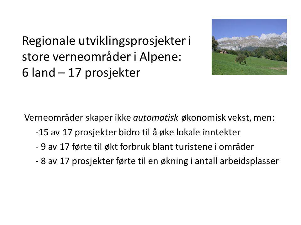 Regionale utviklingsprosjekter i store verneområder i Alpene: 6 land – 17 prosjekter Verneområder skaper ikke automatisk økonomisk vekst, men: -15 av 17 prosjekter bidro til å øke lokale inntekter - 9 av 17 førte til økt forbruk blant turistene i områder - 8 av 17 prosjekter førte til en økning i antall arbeidsplasser
