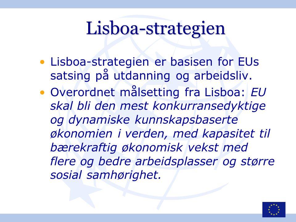 Lisboa-strategien •Lisboa-strategien er basisen for EUs satsing på utdanning og arbeidsliv. •Overordnet målsetting fra Lisboa: EU skal bli den mest ko