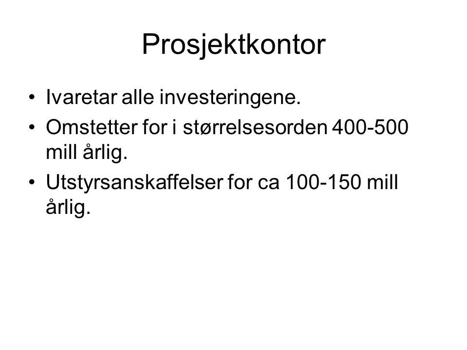 Prosjektkontor •Ivaretar alle investeringene. •Omstetter for i størrelsesorden 400-500 mill årlig. •Utstyrsanskaffelser for ca 100-150 mill årlig.