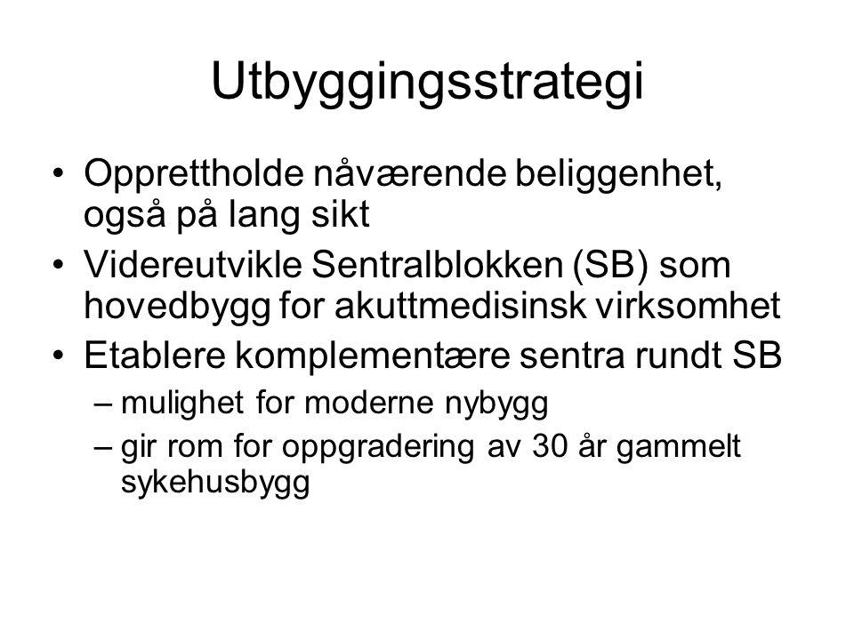 Utbyggingsstrategi •Opprettholde nåværende beliggenhet, også på lang sikt •Videreutvikle Sentralblokken (SB) som hovedbygg for akuttmedisinsk virksomh
