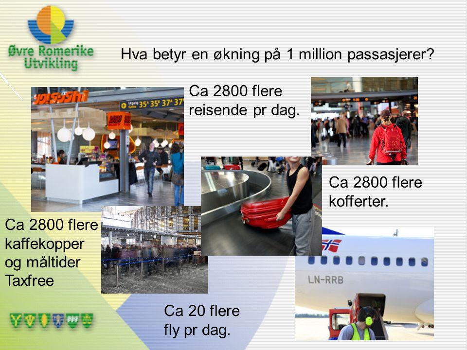 Hva betyr en økning på 1 million passasjerer? Ca 2800 flere kaffekopper og måltider Taxfree Ca 2800 flere kofferter. Ca 2800 flere reisende pr dag. Ca