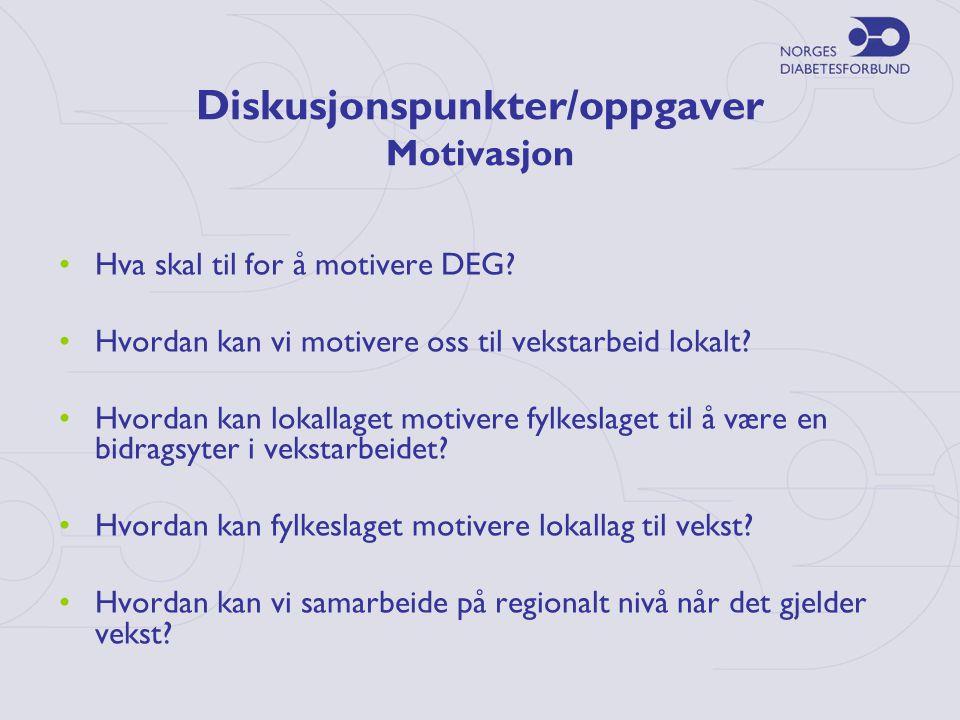 Diskusjonspunkter/oppgaver Motivasjon •Hva skal til for å motivere DEG.