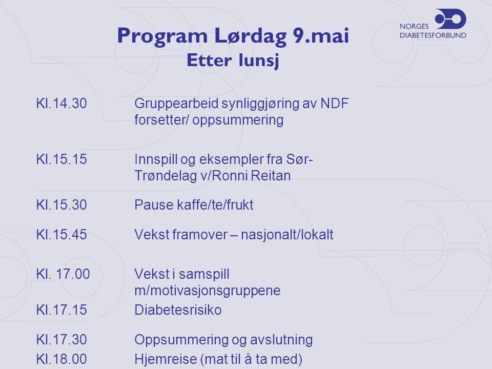 Program Lørdag 9.mai Etter lunsj Kl.14.30Gruppearbeid synliggjøring av NDF forsetter/ oppsummering Kl.15.15Innspill og eksempler fra Sør- Trøndelag v/Ronni Reitan Kl.15.30Pause kaffe/te/frukt Kl.15.45 Vekst framover – nasjonalt/lokalt Kl.