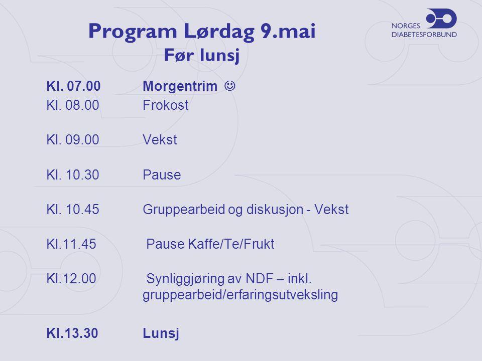 Program Lørdag 9.mai Før lunsj Kl. 07.00Morgentrim  Kl. 08.00 Frokost Kl. 09.00Vekst Kl. 10.30Pause Kl. 10.45Gruppearbeid og diskusjon - Vekst Kl.11.
