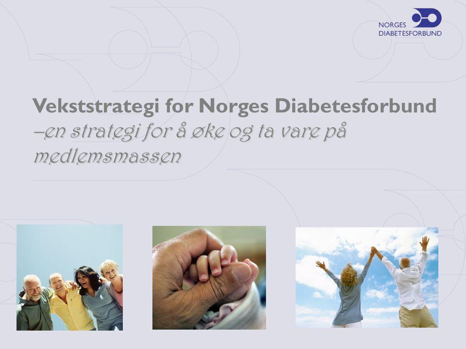 Norges Diabetesforbund iverksatte i 2006 en strategi for å øke og ta vare på medlemsmassen Hvorfor ha en Vekststrategi?