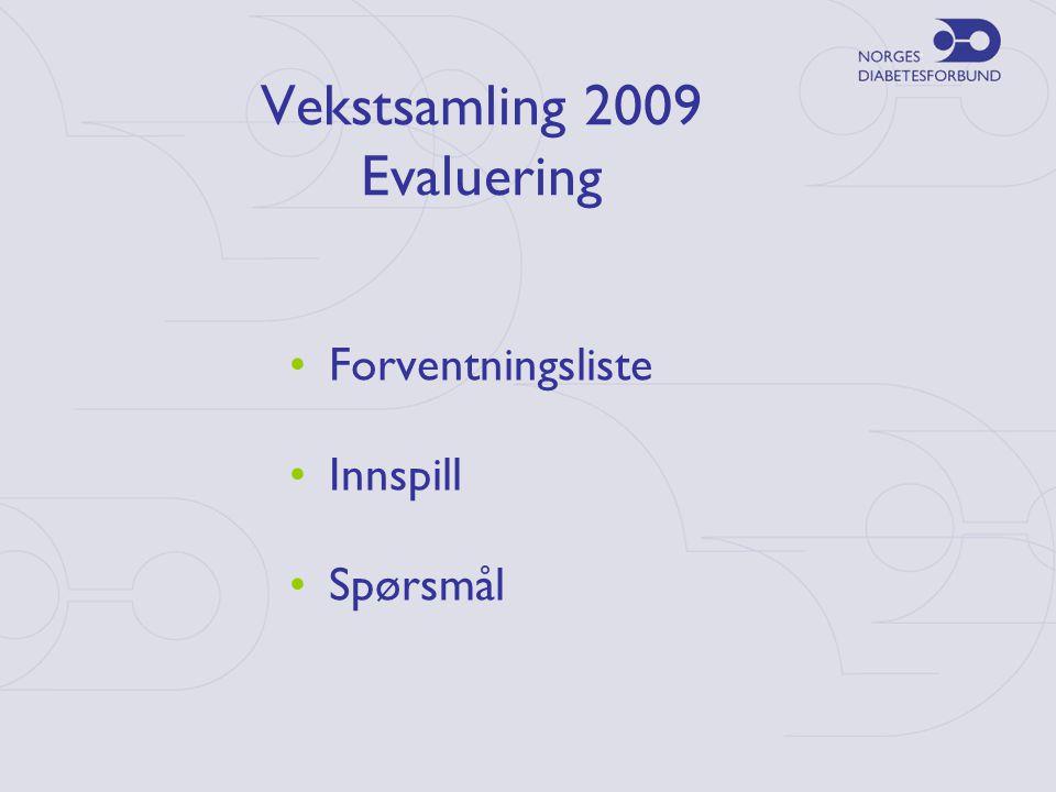 Vekstsamling 2009 Evaluering •Forventningsliste •Innspill •Spørsmål