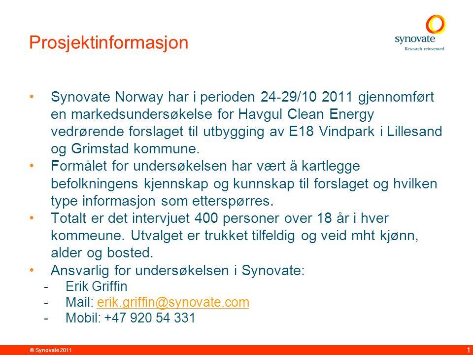 © Synovate 2011 12 Kun 18% er negative til utbyggingen av E18 Vindpark – 57% er positive Base: 802 Telefonintervju