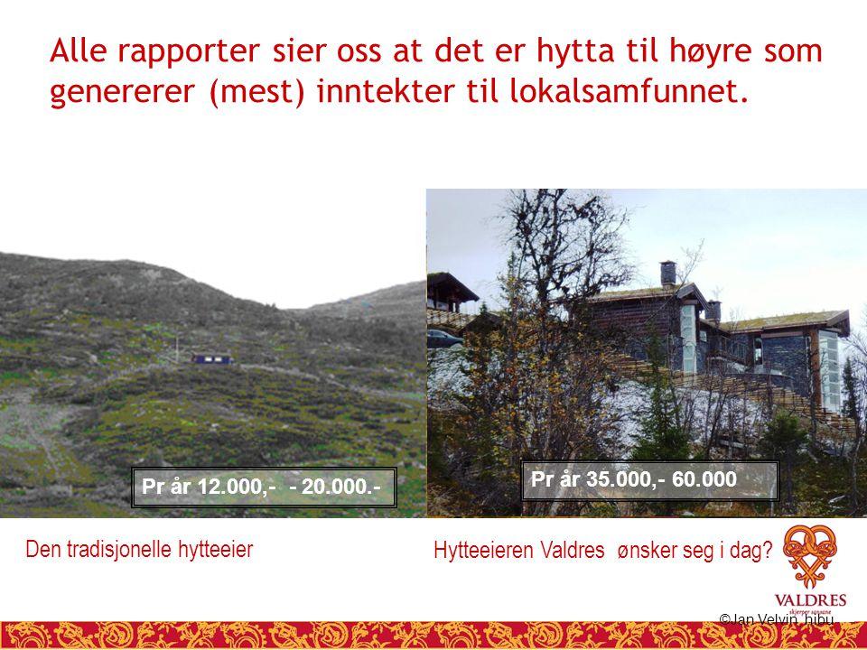 Hytteeieren Valdres ønsker seg i dag? Alle rapporter sier oss at det er hytta til høyre som genererer (mest) inntekter til lokalsamfunnet. ©Jan Velvin