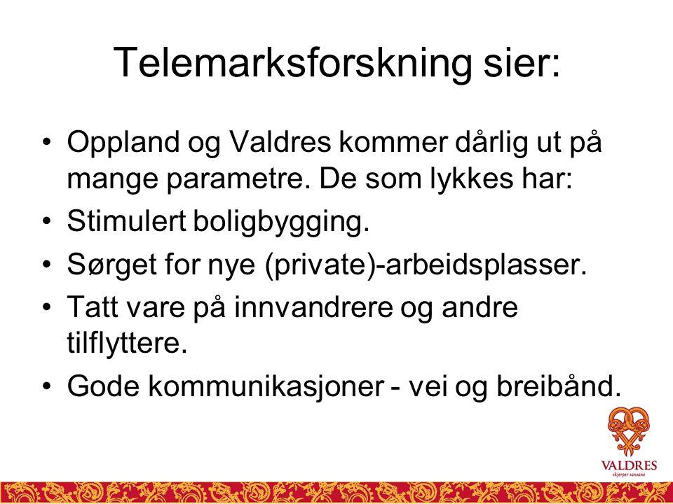 Telemarksforskning sier: •Oppland og Valdres kommer dårlig ut på mange parametre. De som lykkes har: •Stimulert boligbygging. •Sørget for nye (private