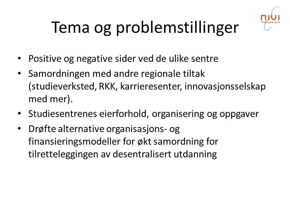 Tema og problemstillinger • Positive og negative sider ved de ulike sentre • Samordningen med andre regionale tiltak (studieverksted, RKK, karrieresenter, innovasjonsselskap med mer).